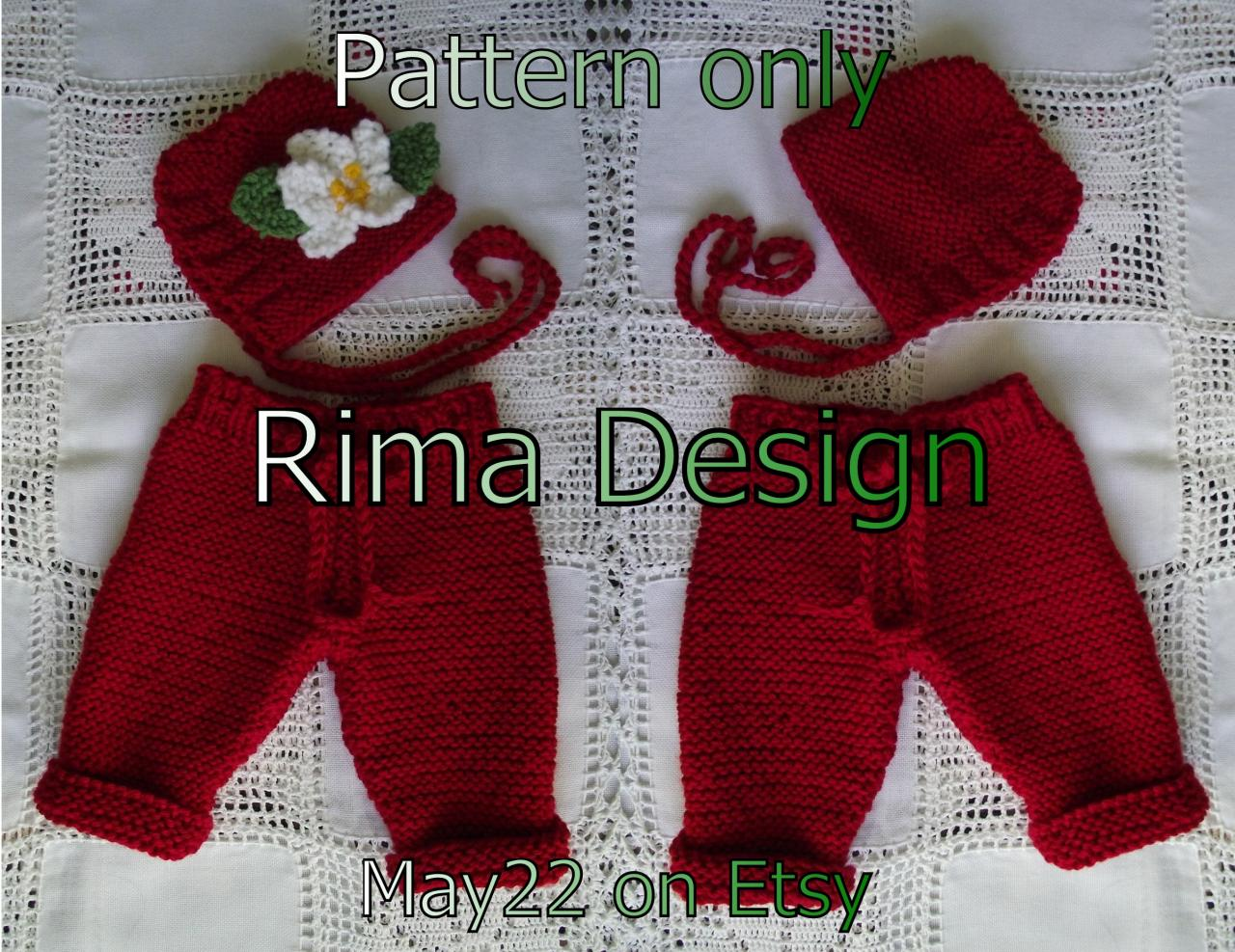 Knit pattern Baby infant hat bonnet pants diaper cover set twin original design knitting pattern pdf instant download newborn girl boy unigender Canada