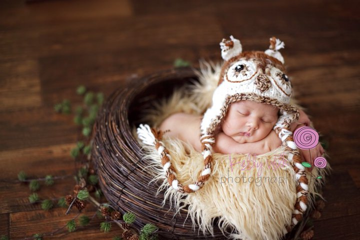 Hat genuine baby boy girl owl hat photography props newborn to 3 months handmade in canada